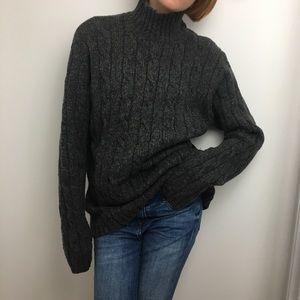L.LBean chunky grey turtleneck sweater M